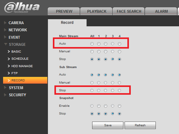 Configure Dahua DVR to record video / image continuously