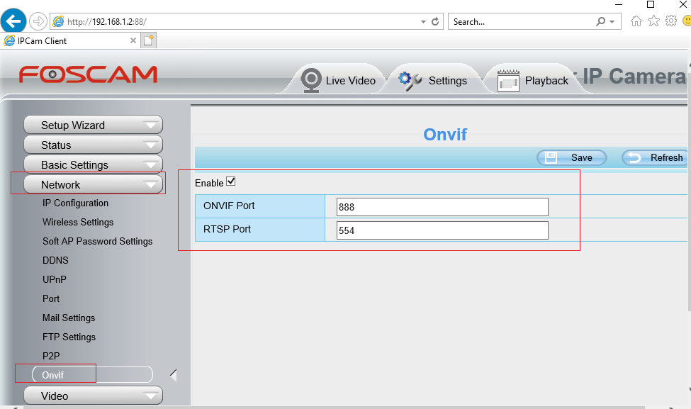 Configure Foscam IP Camera/DVR to enable ONVIF and RTSP protocols